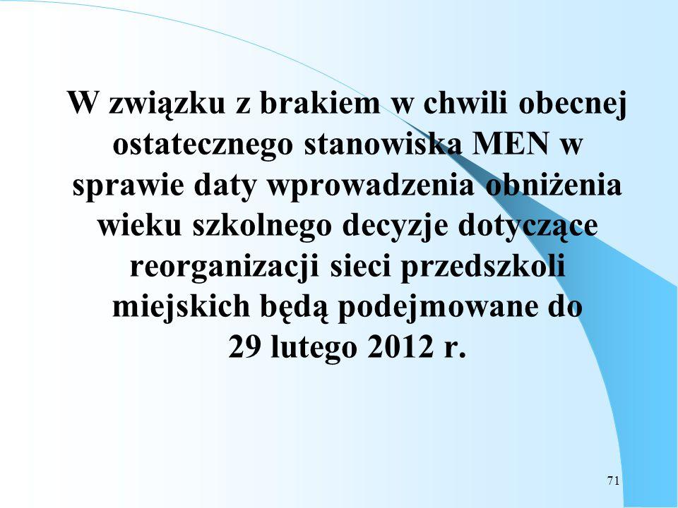 W związku z brakiem w chwili obecnej ostatecznego stanowiska MEN w sprawie daty wprowadzenia obniżenia wieku szkolnego decyzje dotyczące reorganizacji sieci przedszkoli miejskich będą podejmowane do 29 lutego 2012 r.