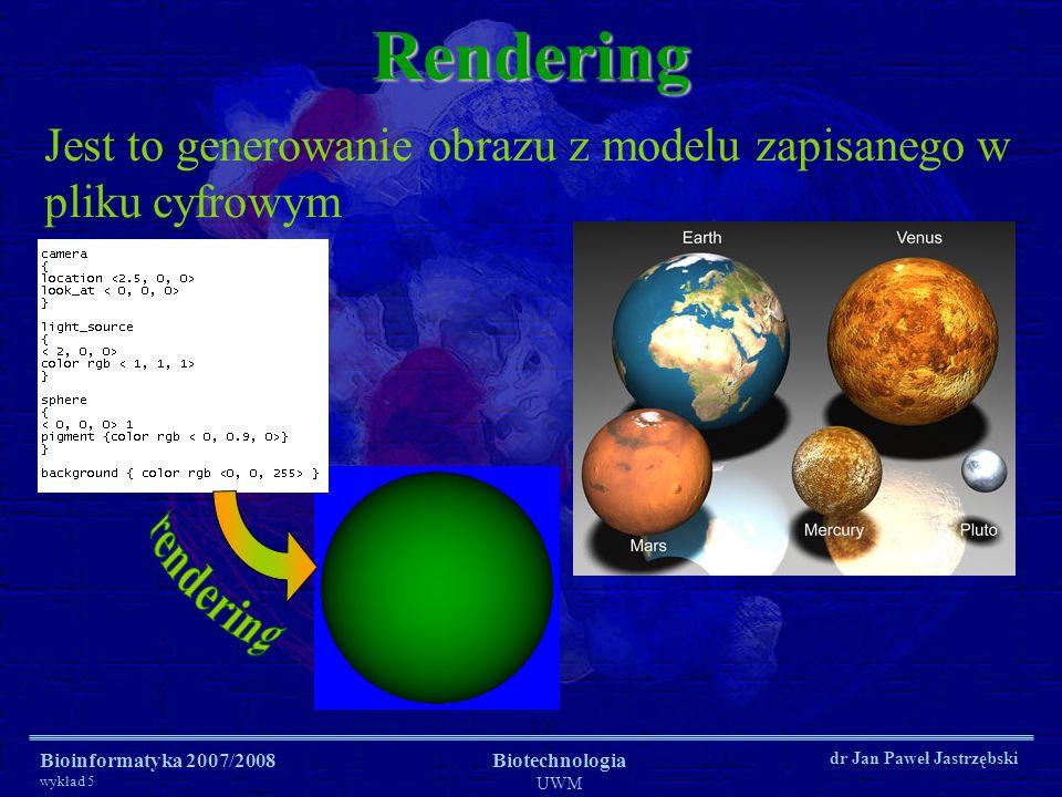 Rendering Jest to generowanie obrazu z modelu zapisanego w pliku cyfrowym. rendering. Bioinformatyka 2007/2008.