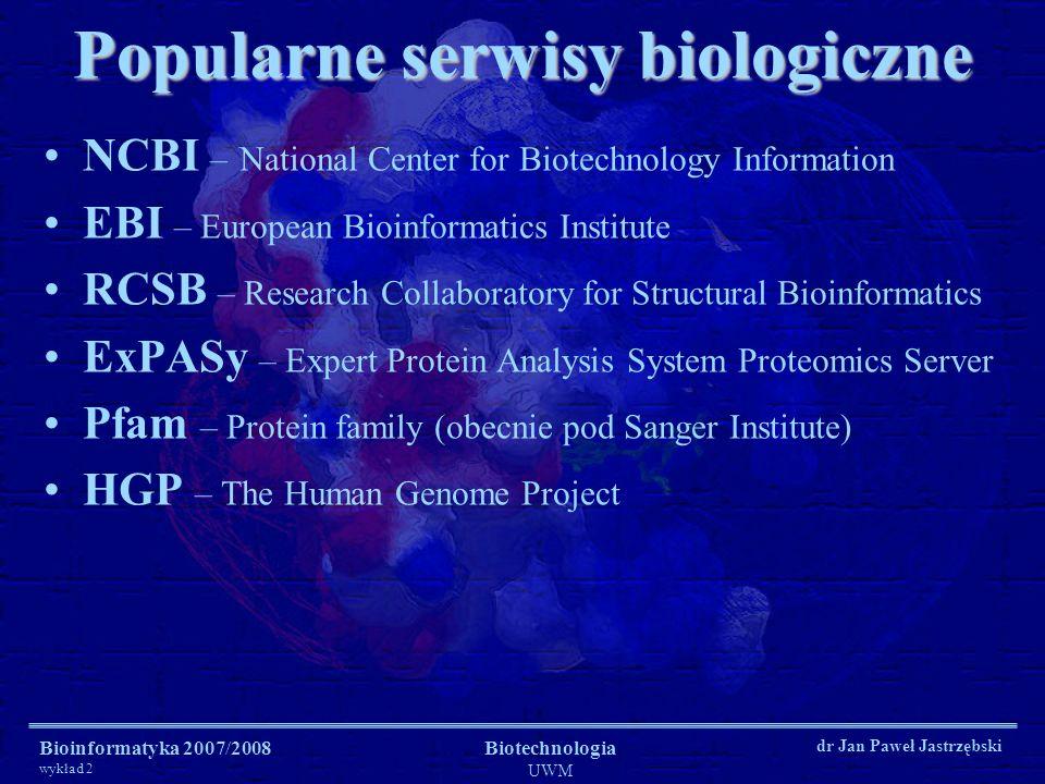 Popularne serwisy biologiczne