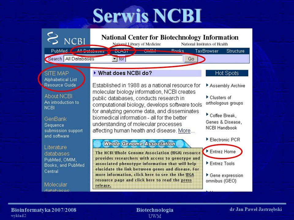 Serwis NCBI Bioinformatyka 2007/2008 wykład 2 Biotechnologia UWM