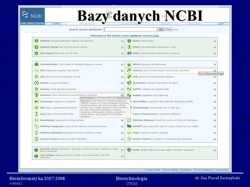 Bazy danych NCBI Bioinformatyka 2007/2008 wykład 2 Biotechnologia UWM