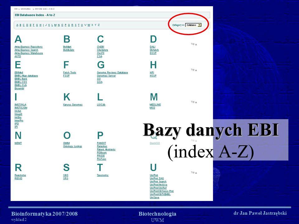 Bazy danych EBI (index A-Z)