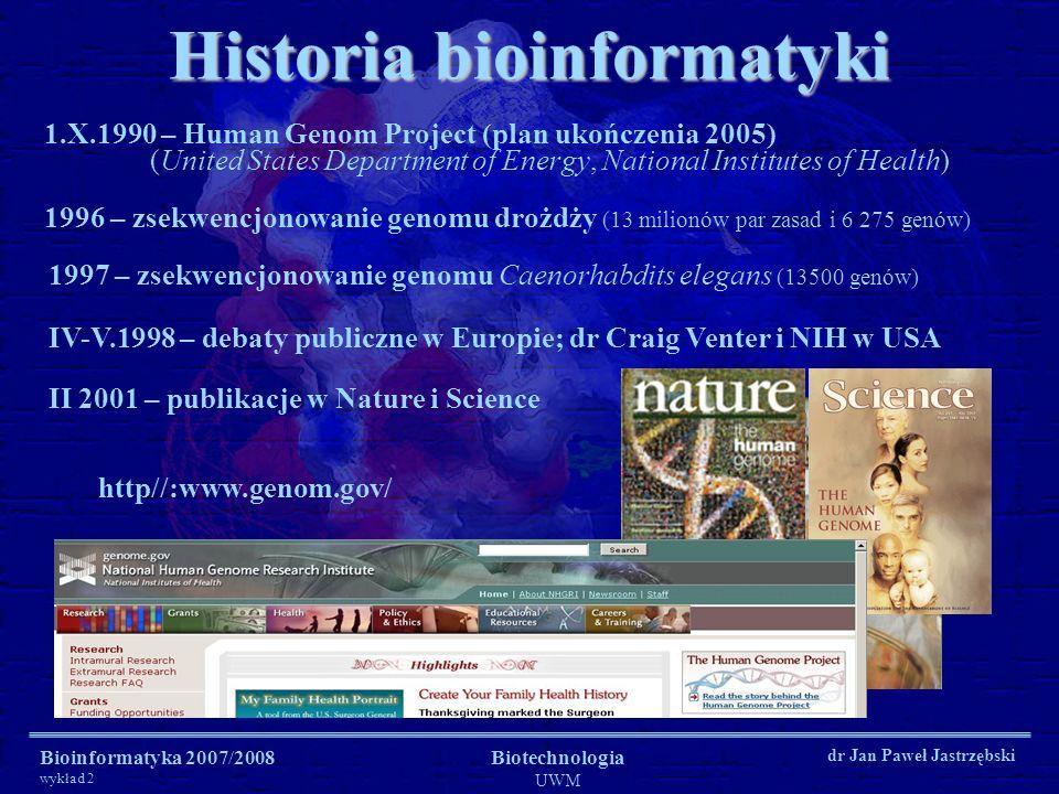 Historia bioinformatyki