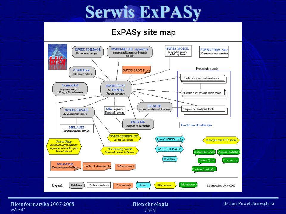 Serwis ExPASy Bioinformatyka 2007/2008 wykład 2 Biotechnologia UWM