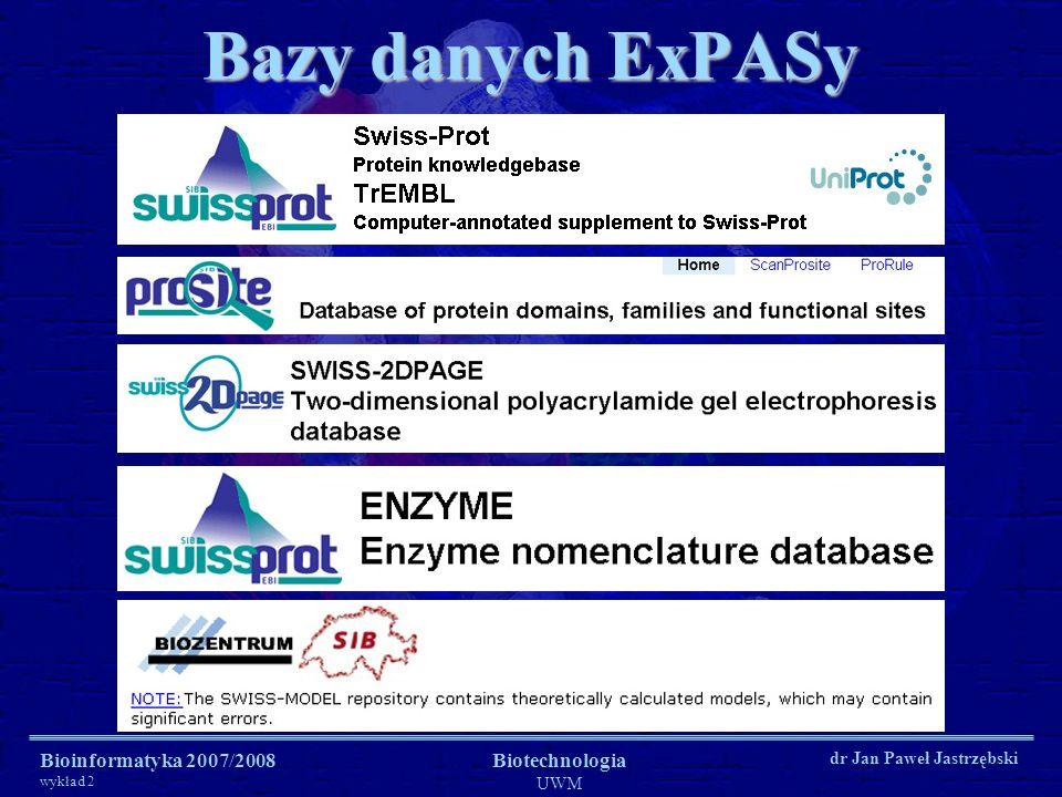 Bazy danych ExPASy Bioinformatyka 2007/2008 Biotechnologia UWM