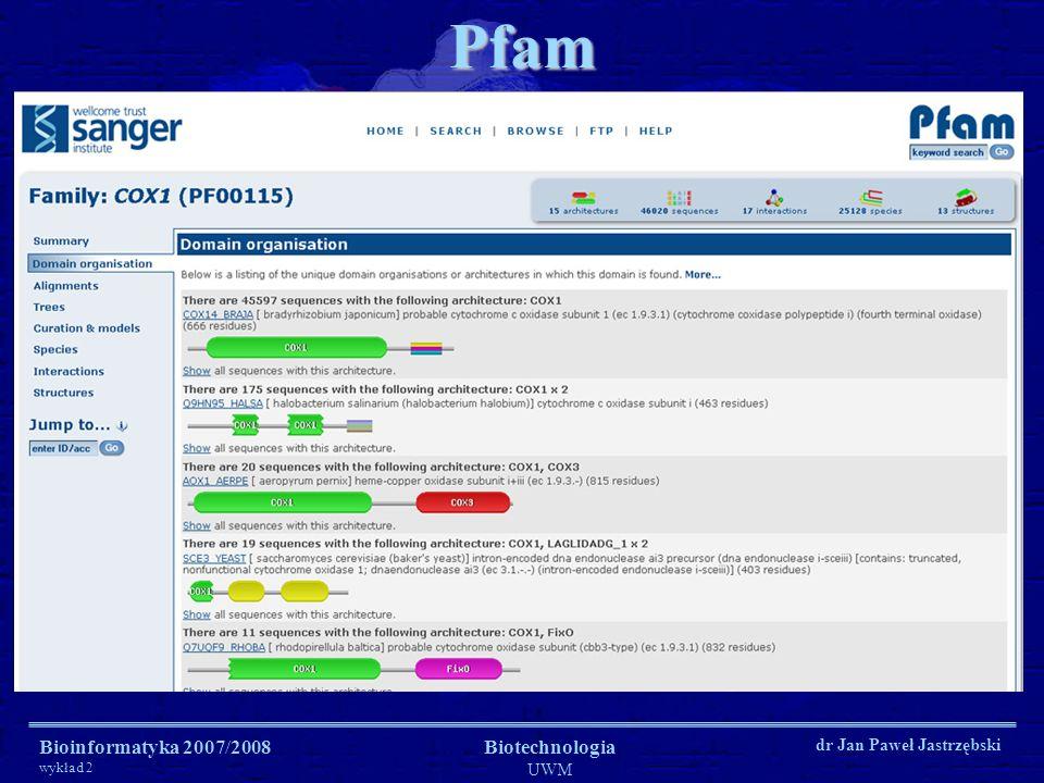 Pfam Bioinformatyka 2007/2008 wykład 2 Biotechnologia UWM