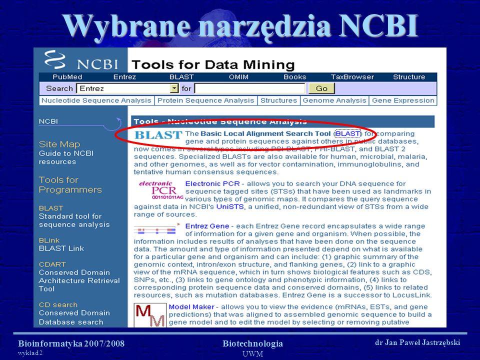Wybrane narzędzia NCBI