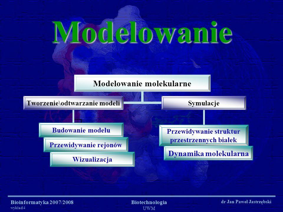 Modelowanie Bioinformatyka 2007/2008 wykład 4 Biotechnologia UWM