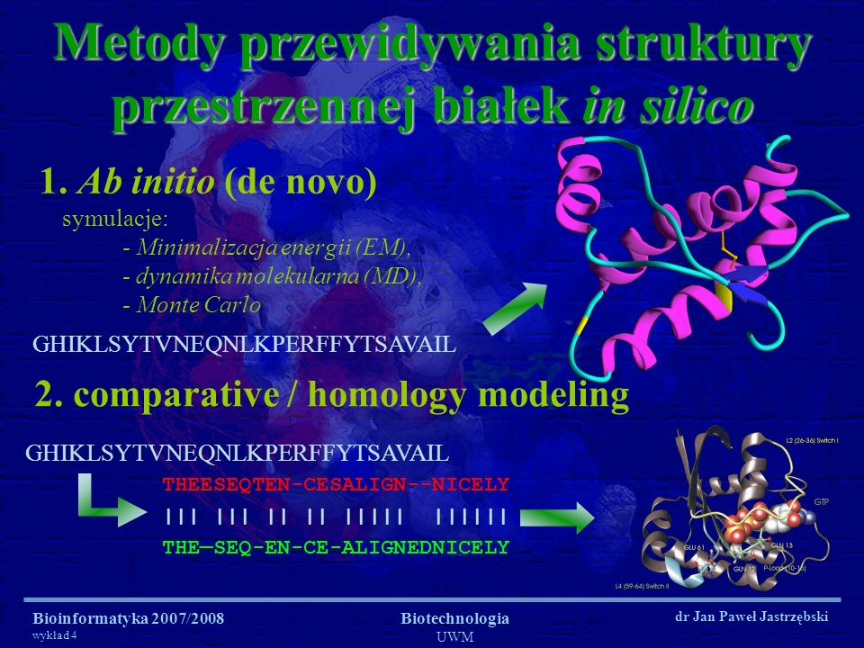 Metody przewidywania struktury przestrzennej białek in silico
