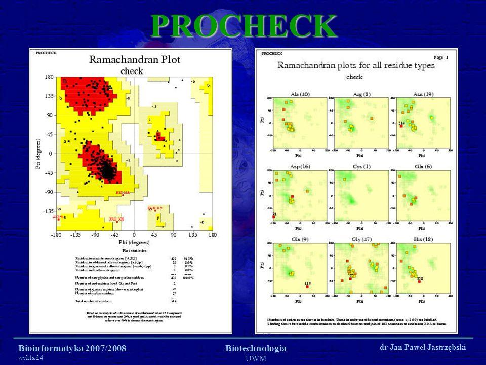 PROCHECK Bioinformatyka 2007/2008 wykład 4 Biotechnologia UWM