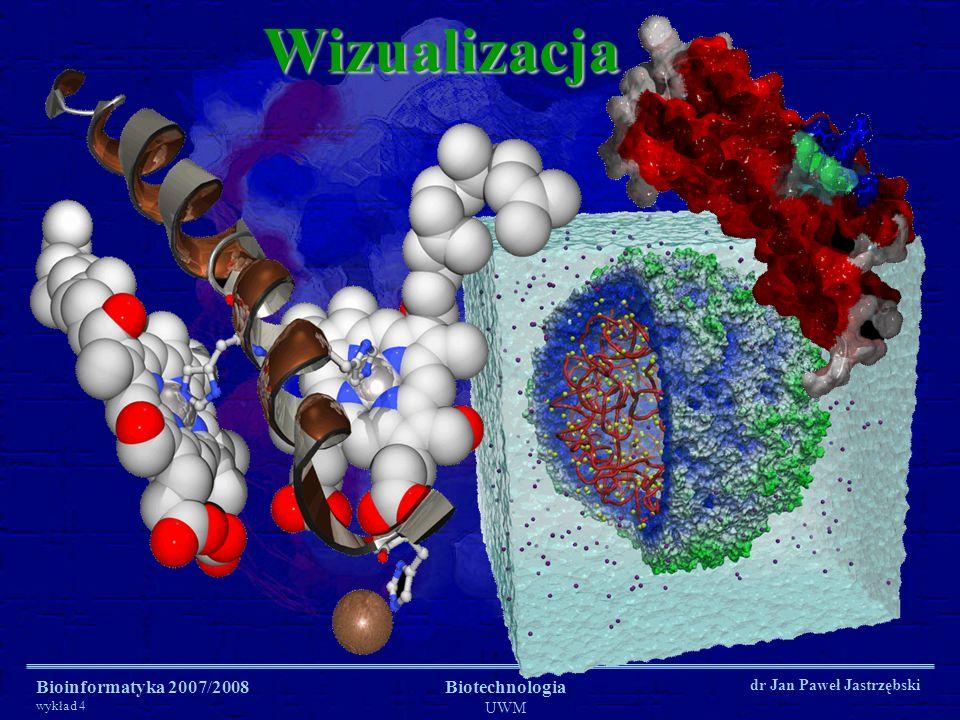 Wizualizacja Bioinformatyka 2007/2008 wykład 4 Biotechnologia UWM