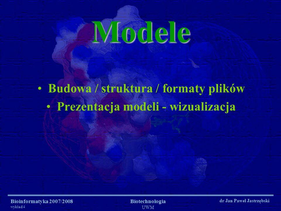 Budowa / struktura / formaty plików Prezentacja modeli - wizualizacja