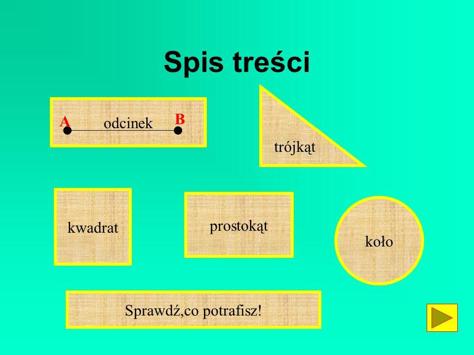 Spis treści odcinek B A trójkąt kwadrat prostokąt koło