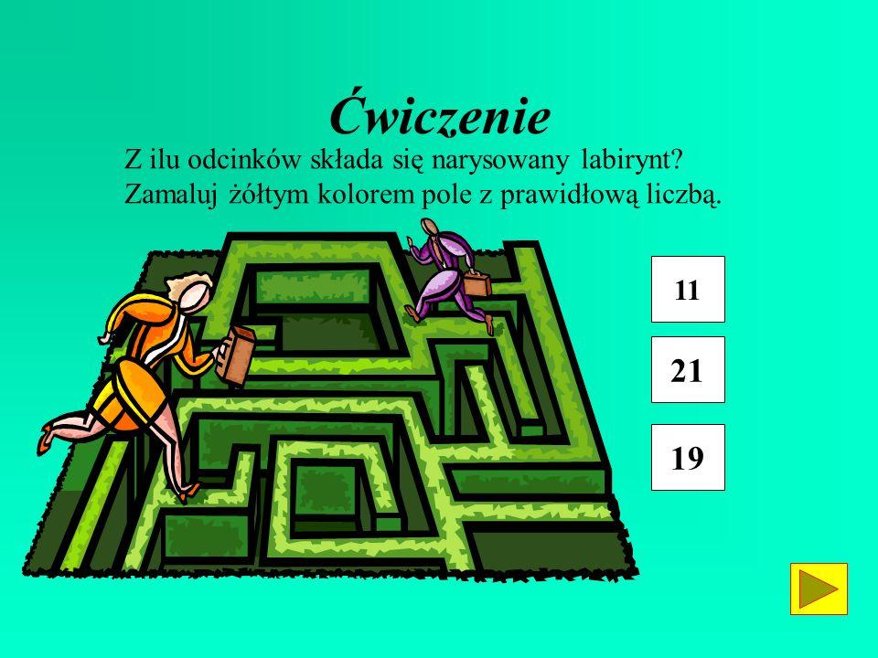 Ćwiczenie 21 19 Z ilu odcinków składa się narysowany labirynt