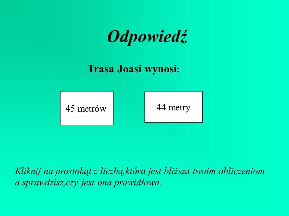 Odpowiedź Trasa Joasi wynosi: 44 metry 45 metrów
