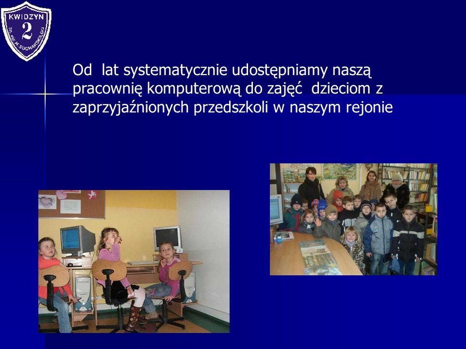 Od lat systematycznie udostępniamy naszą pracownię komputerową do zajęć dzieciom z zaprzyjaźnionych przedszkoli w naszym rejonie