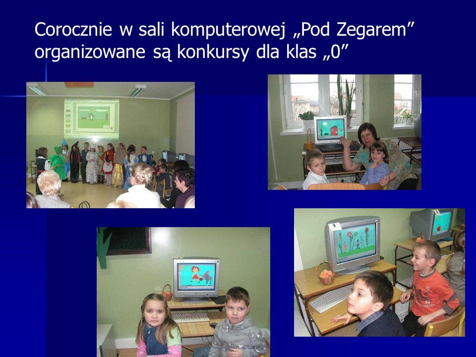 """Corocznie w sali komputerowej """"Pod Zegarem organizowane są konkursy dla klas """"0"""