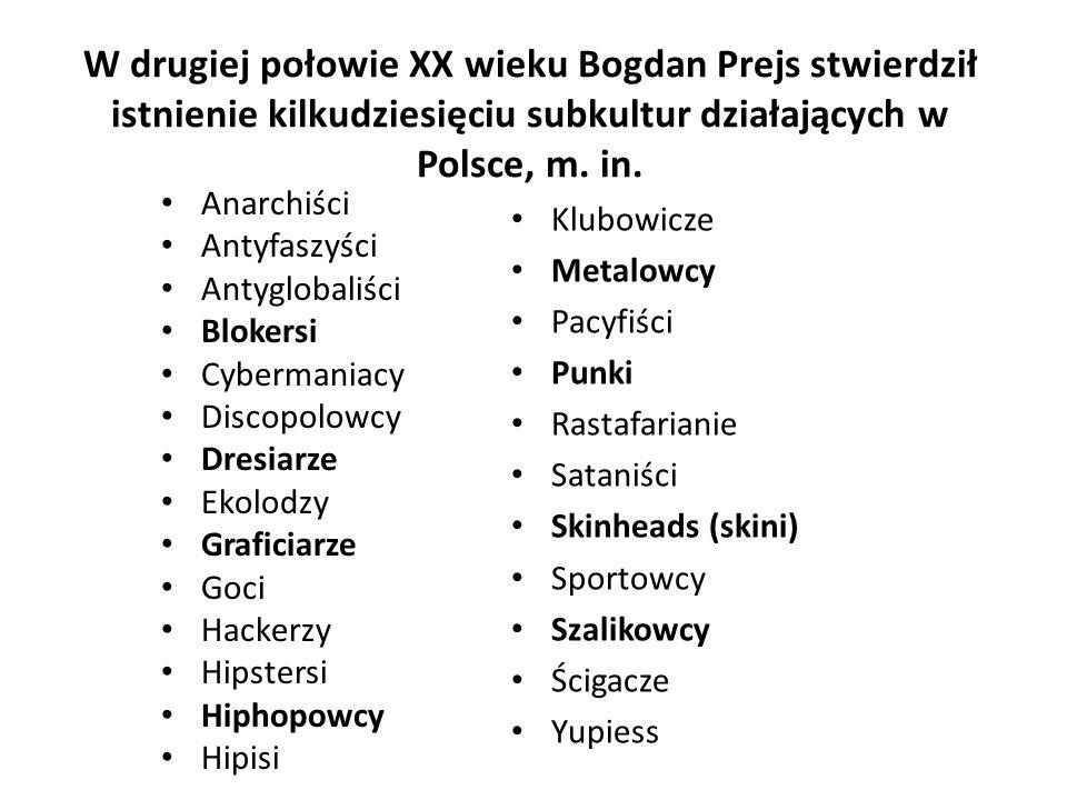 W drugiej połowie XX wieku Bogdan Prejs stwierdził istnienie kilkudziesięciu subkultur działających w Polsce, m. in.