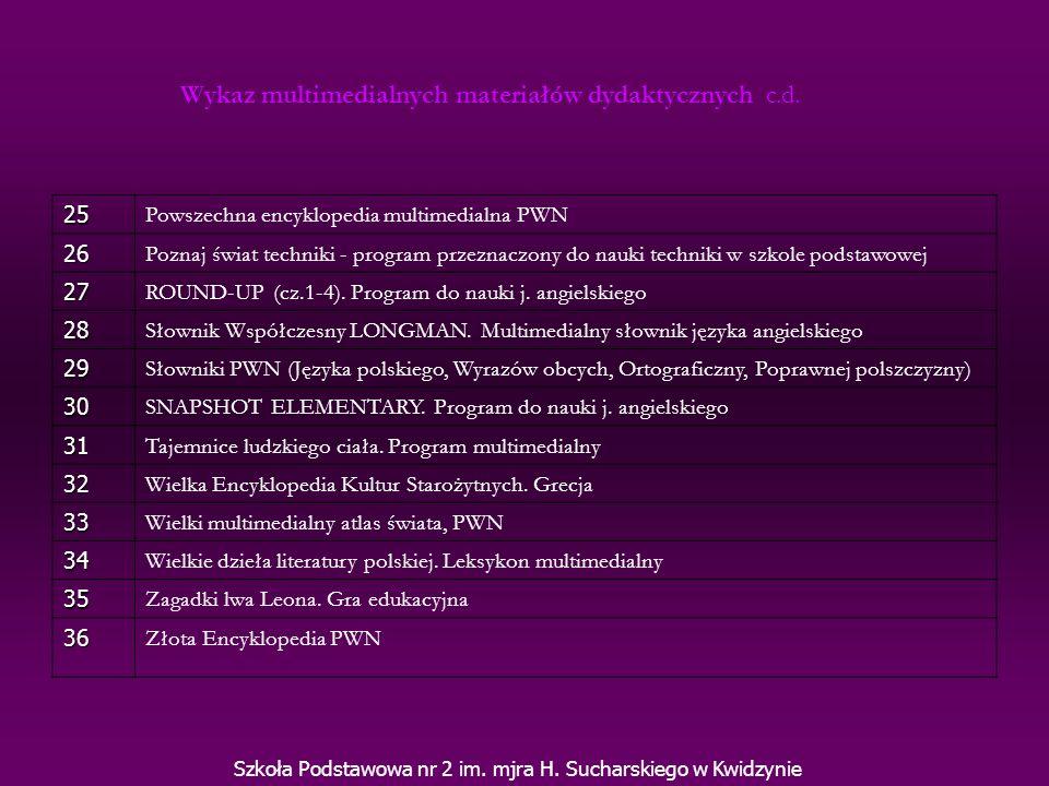Wykaz multimedialnych materiałów dydaktycznych c.d.