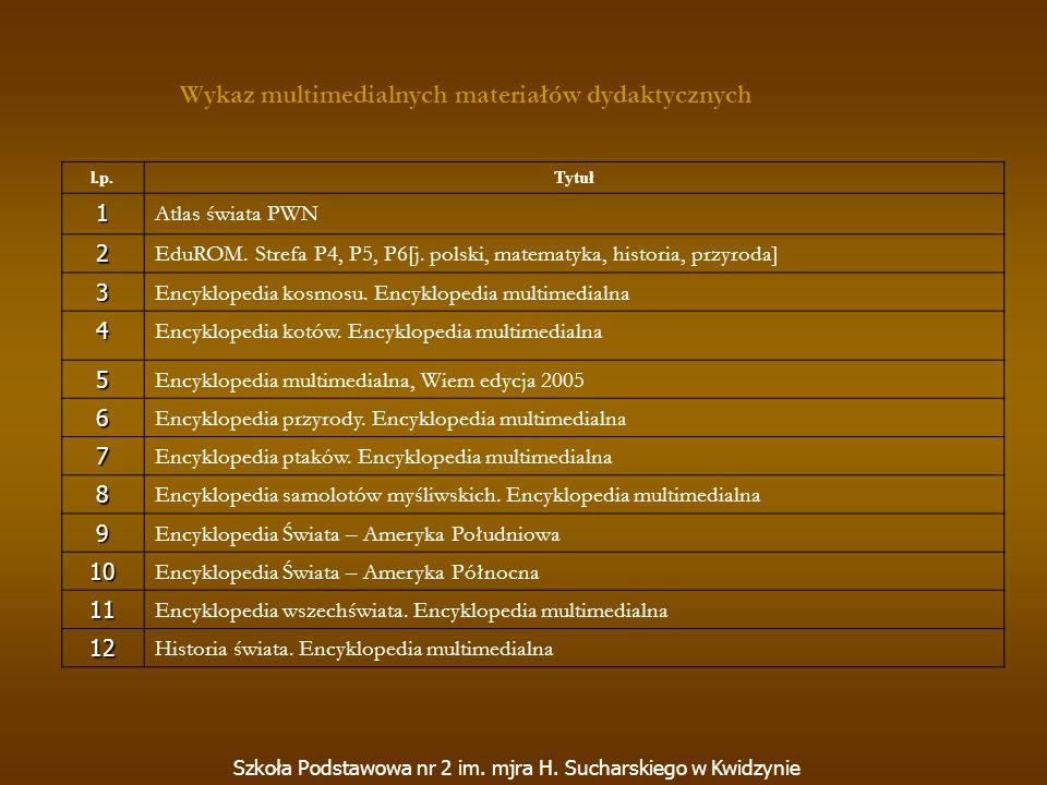 Wykaz multimedialnych materiałów dydaktycznych