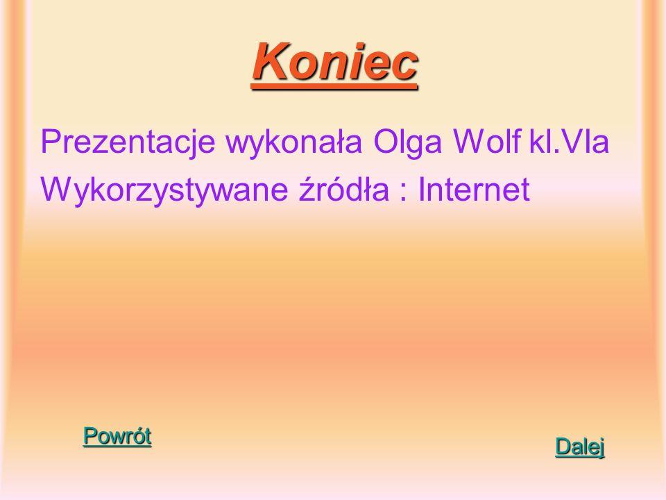 Koniec Prezentacje wykonała Olga Wolf kl.VIa