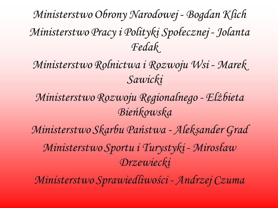 Ministerstwo Obrony Narodowej - Bogdan Klich