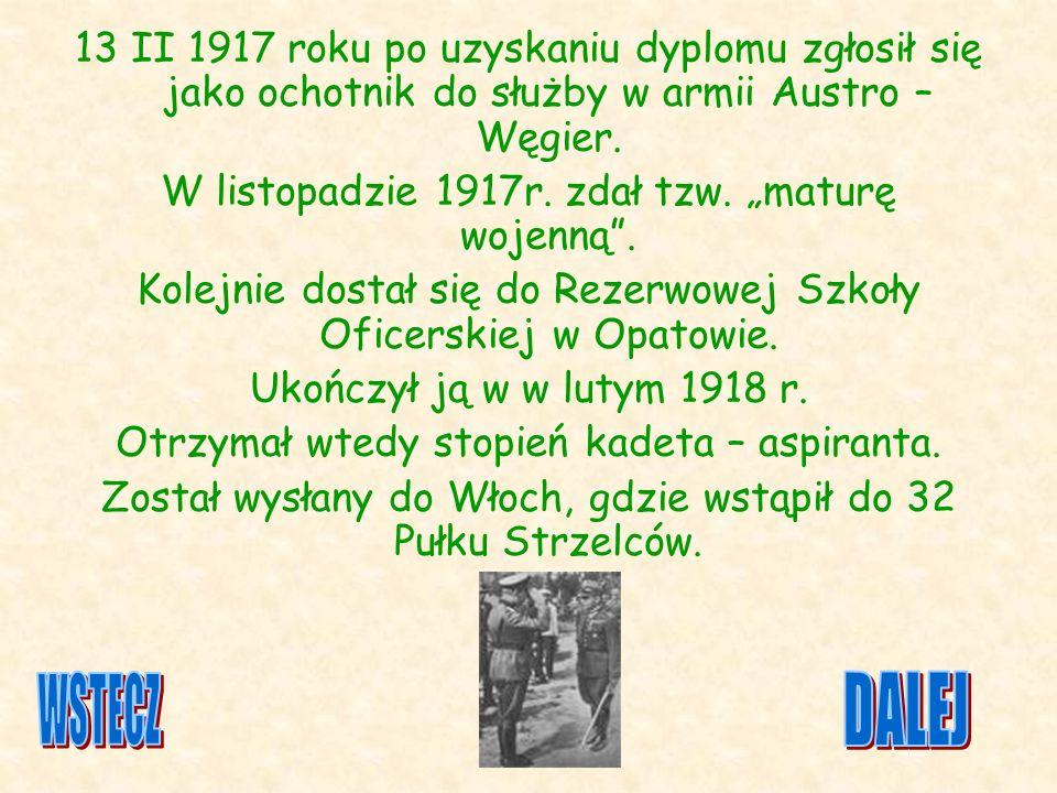 13 II 1917 roku po uzyskaniu dyplomu zgłosił się jako ochotnik do służby w armii Austro – Węgier.