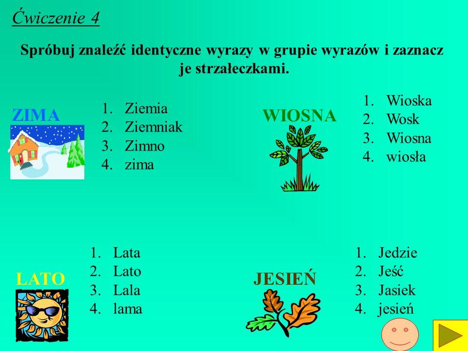 Spróbuj znaleźć identyczne wyrazy w grupie wyrazów i zaznacz