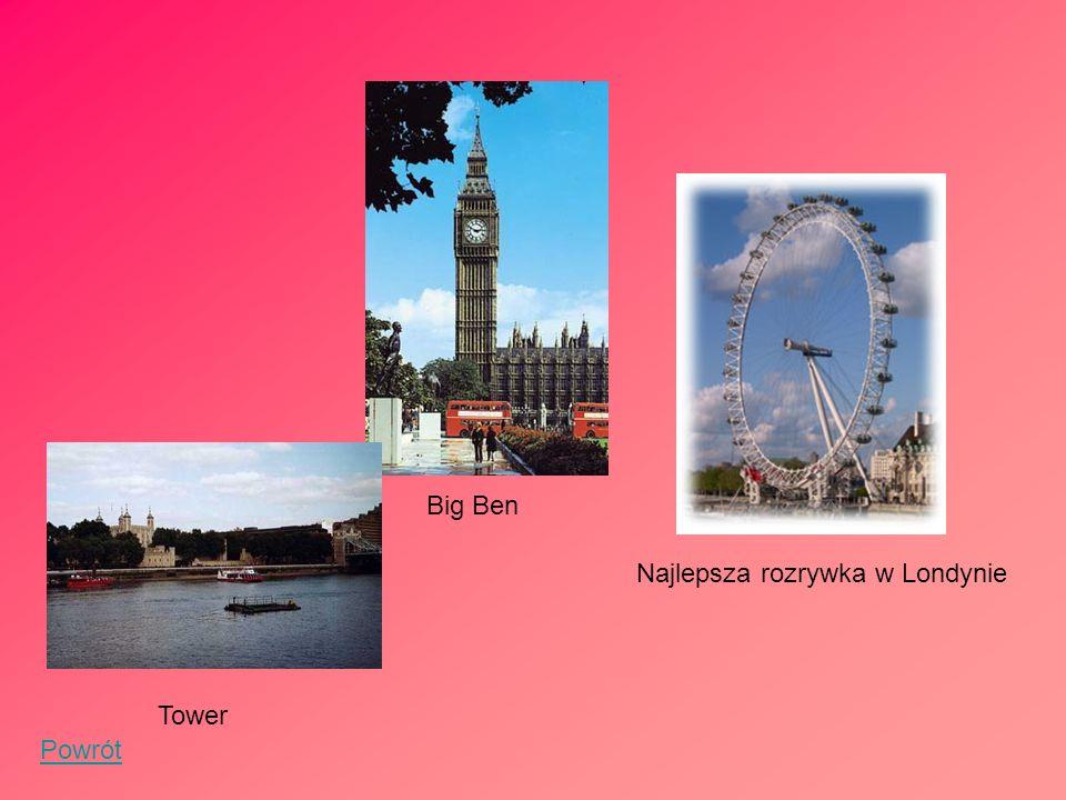 Big Ben Najlepsza rozrywka w Londynie Tower Powrót