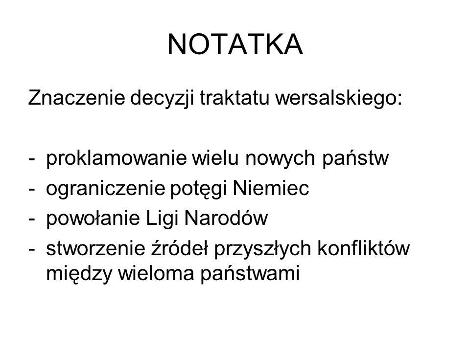 NOTATKA Znaczenie decyzji traktatu wersalskiego: