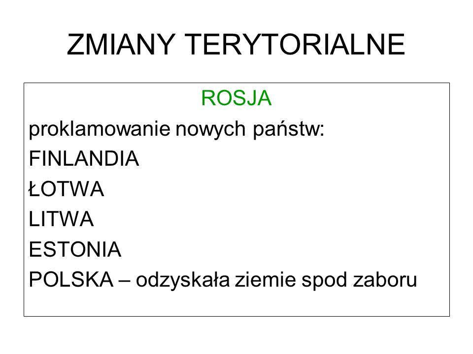 ZMIANY TERYTORIALNE ROSJA proklamowanie nowych państw: FINLANDIA ŁOTWA