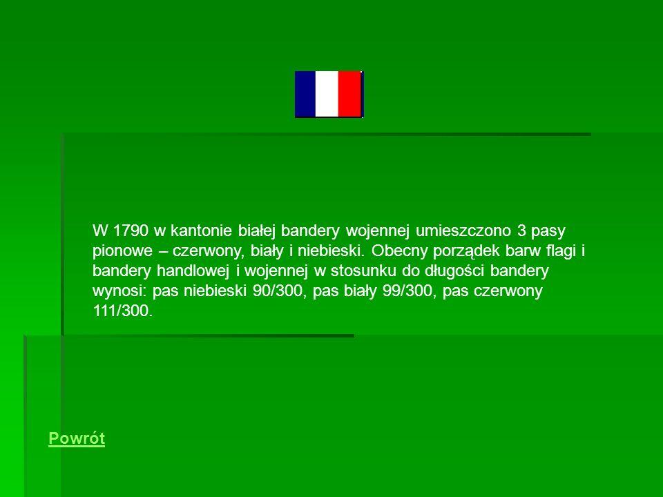 W 1790 w kantonie białej bandery wojennej umieszczono 3 pasy pionowe – czerwony, biały i niebieski. Obecny porządek barw flagi i bandery handlowej i wojennej w stosunku do długości bandery wynosi: pas niebieski 90/300, pas biały 99/300, pas czerwony 111/300.