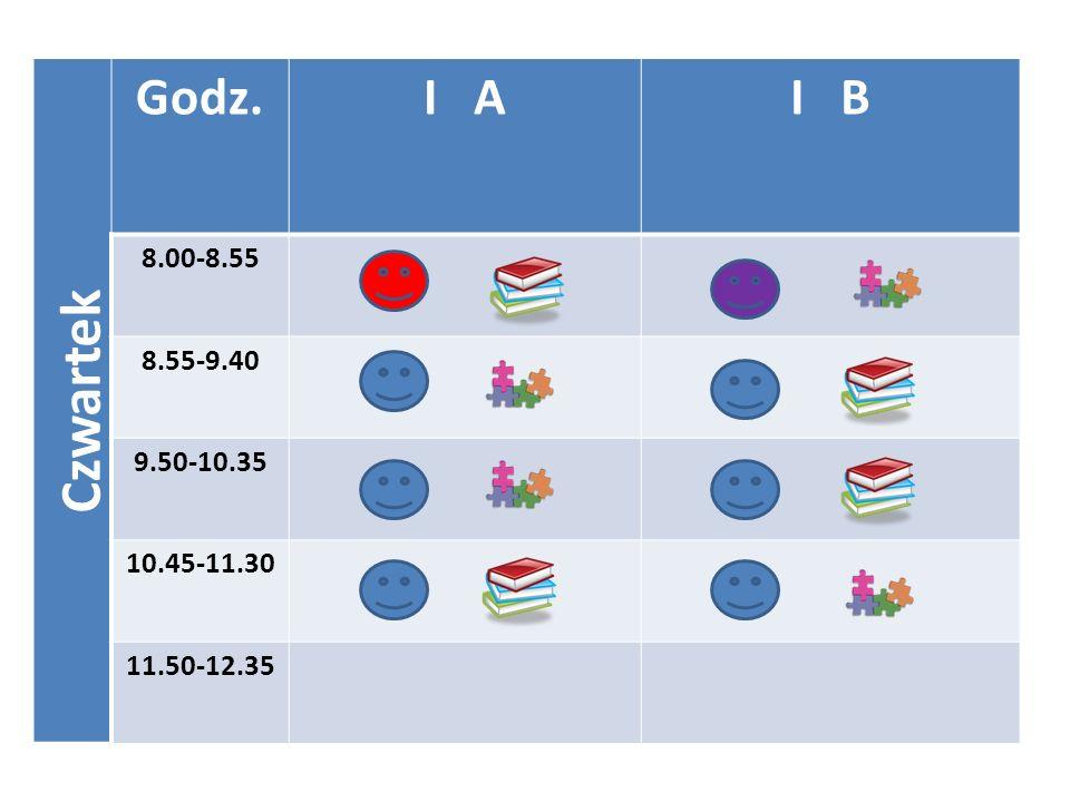 Czwartek Godz. I A I B 8.00-8.55 8.55-9.40 9.50-10.35 10.45-11.30