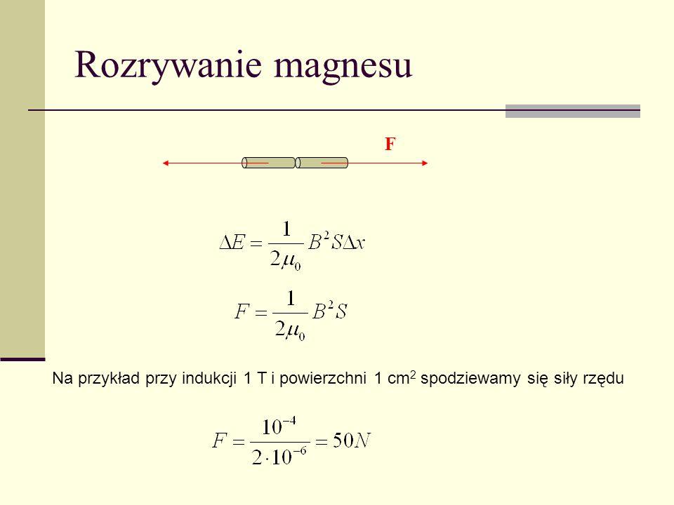 Rozrywanie magnesu F Na przykład przy indukcji 1 T i powierzchni 1 cm2 spodziewamy się siły rzędu