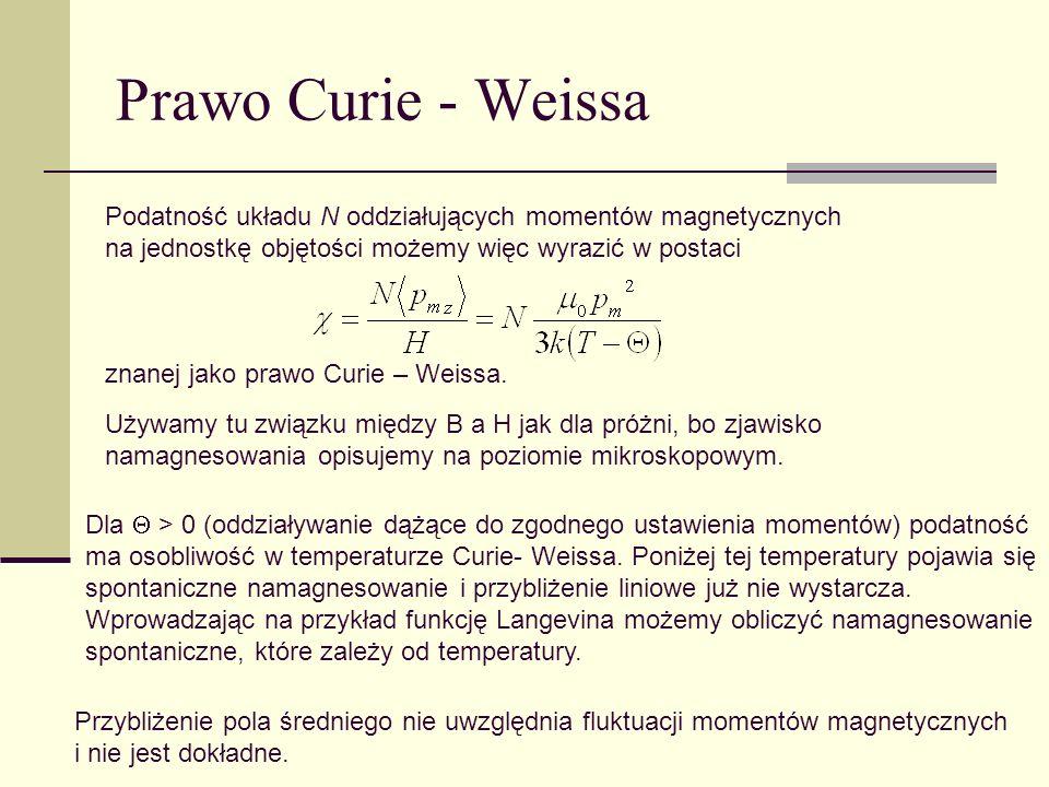 Prawo Curie - Weissa Podatność układu N oddziałujących momentów magnetycznych na jednostkę objętości możemy więc wyrazić w postaci.