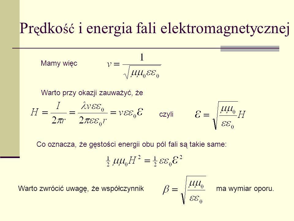 Prędkość i energia fali elektromagnetycznej