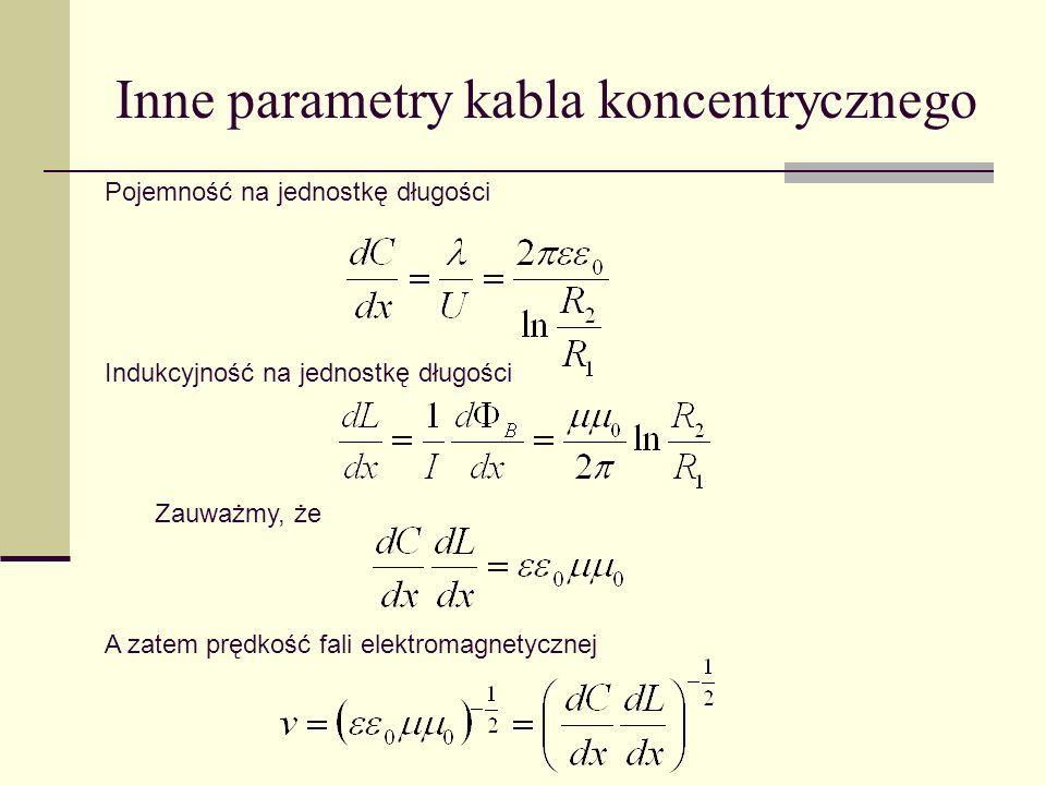 Inne parametry kabla koncentrycznego