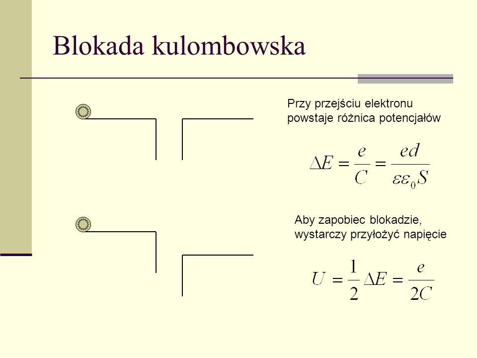 Blokada kulombowskaPrzy przejściu elektronu powstaje różnica potencjałów.