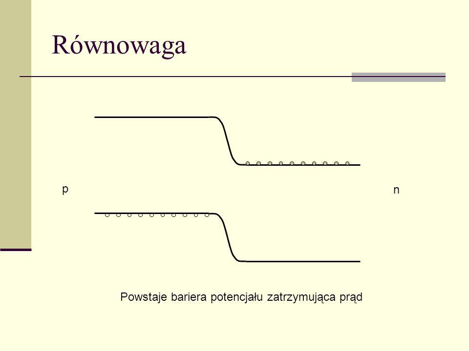 Równowaga p n Powstaje bariera potencjału zatrzymująca prąd