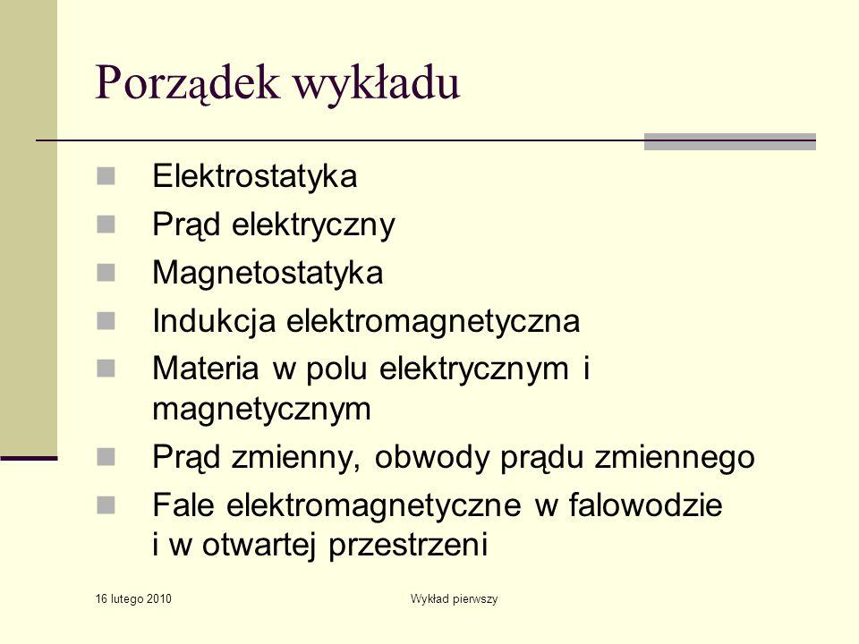 Porządek wykładu Elektrostatyka Prąd elektryczny Magnetostatyka