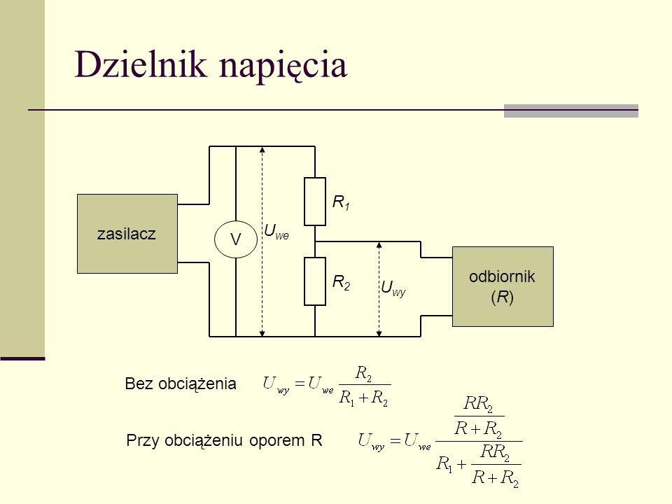 Dzielnik napięcia R1 zasilacz Uwe V odbiornik (R) R2 Uwy