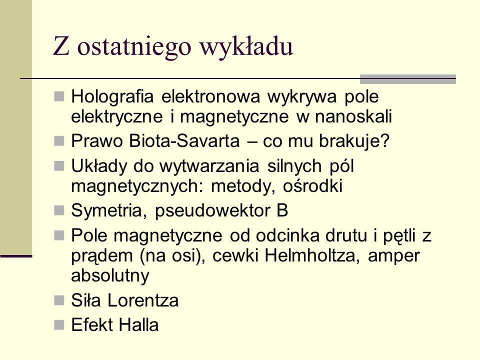 Z ostatniego wykładu Holografia elektronowa wykrywa pole elektryczne i magnetyczne w nanoskali. Prawo Biota-Savarta – co mu brakuje