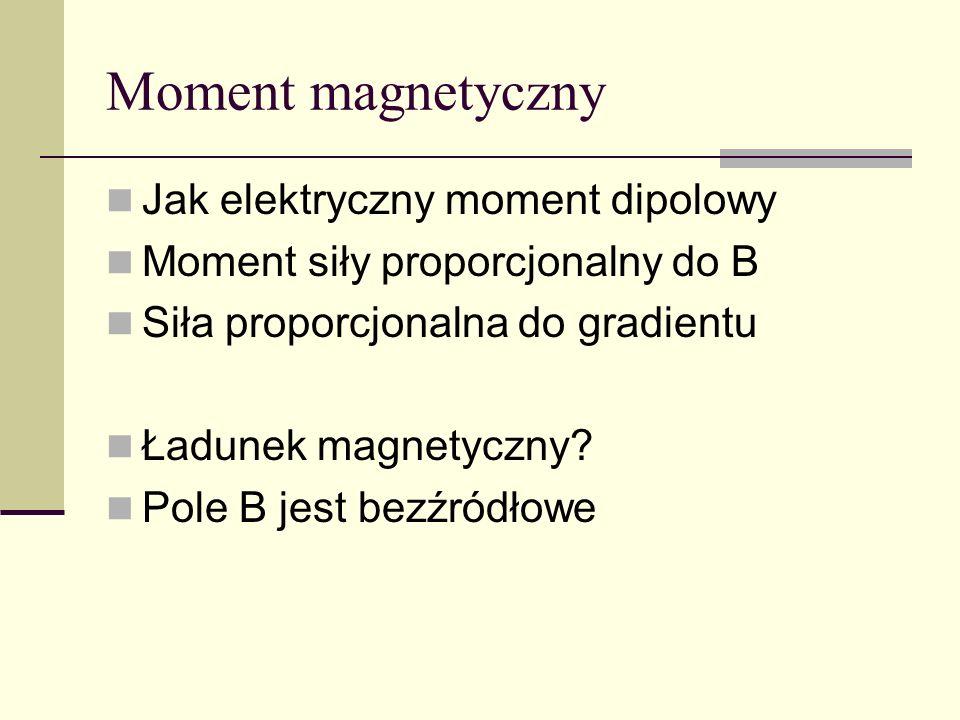 Moment magnetyczny Jak elektryczny moment dipolowy