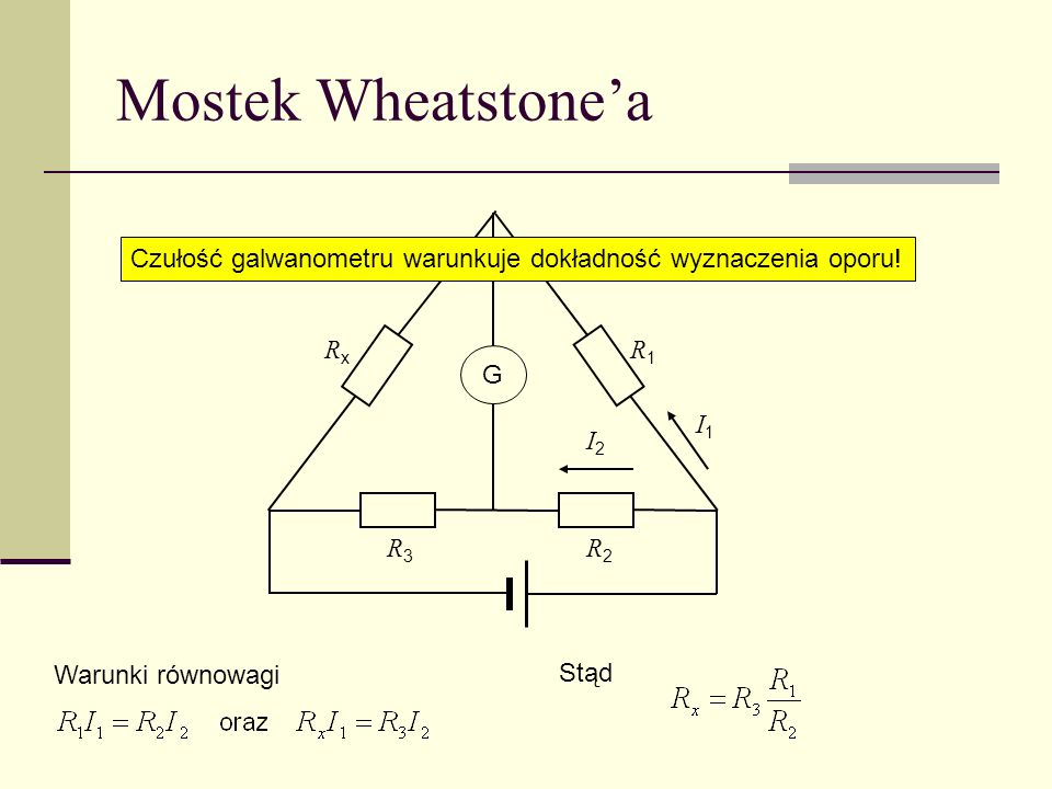 Mostek Wheatstone'a Czułość galwanometru warunkuje dokładność wyznaczenia oporu! Rx. R1. G. I1.