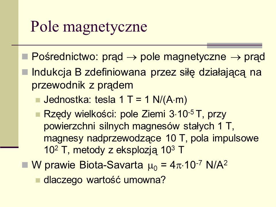 Pole magnetyczne Pośrednictwo: prąd  pole magnetyczne  prąd