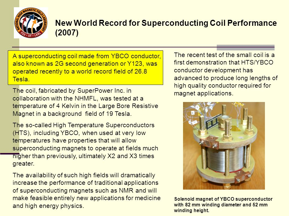 New World Record for Superconducting Coil Performance (2007)