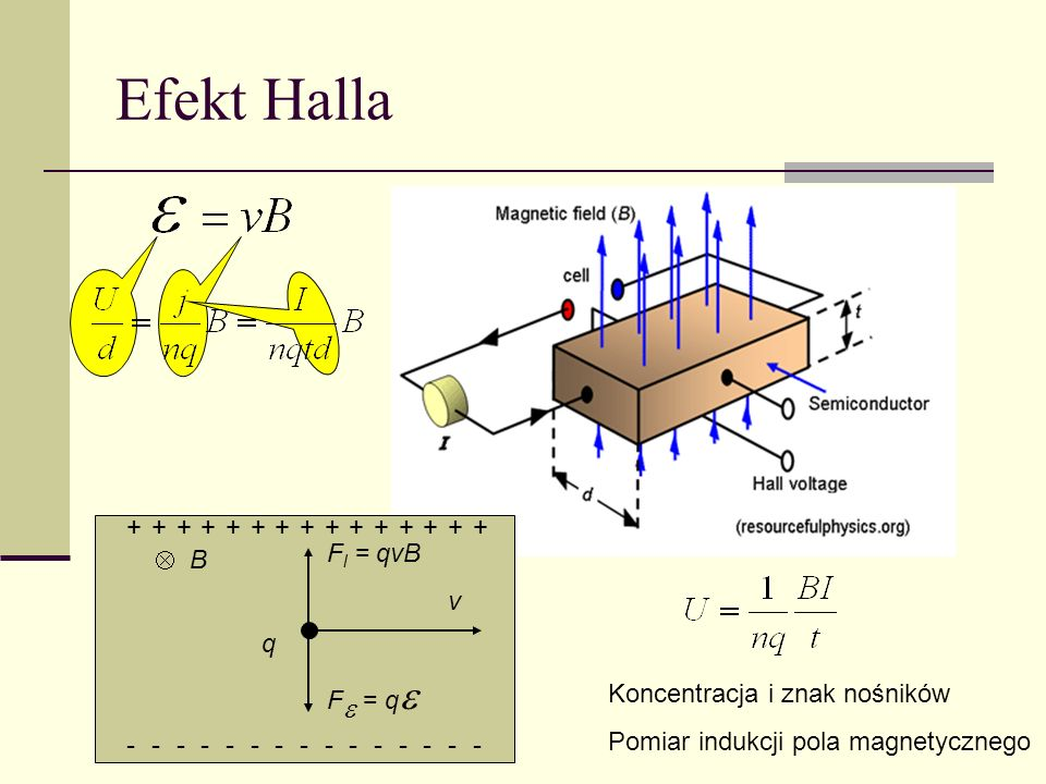 Efekt Halla + Fl = qvB  B v q Fe = qe Koncentracja i znak nośników