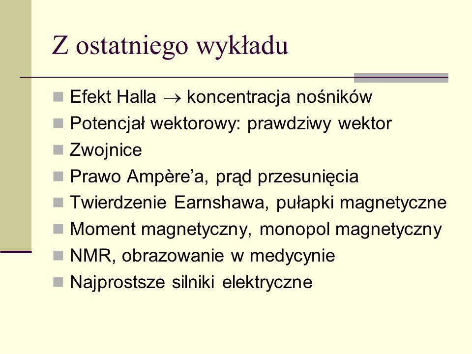 Z ostatniego wykładu Efekt Halla  koncentracja nośników