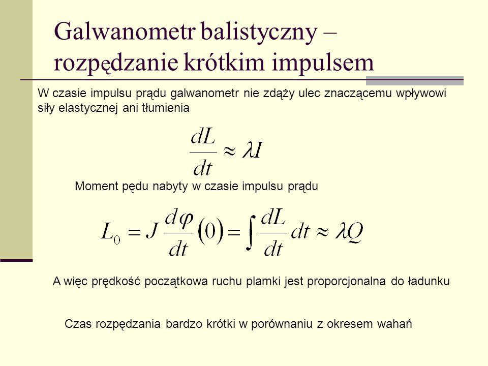 Galwanometr balistyczny – rozpędzanie krótkim impulsem