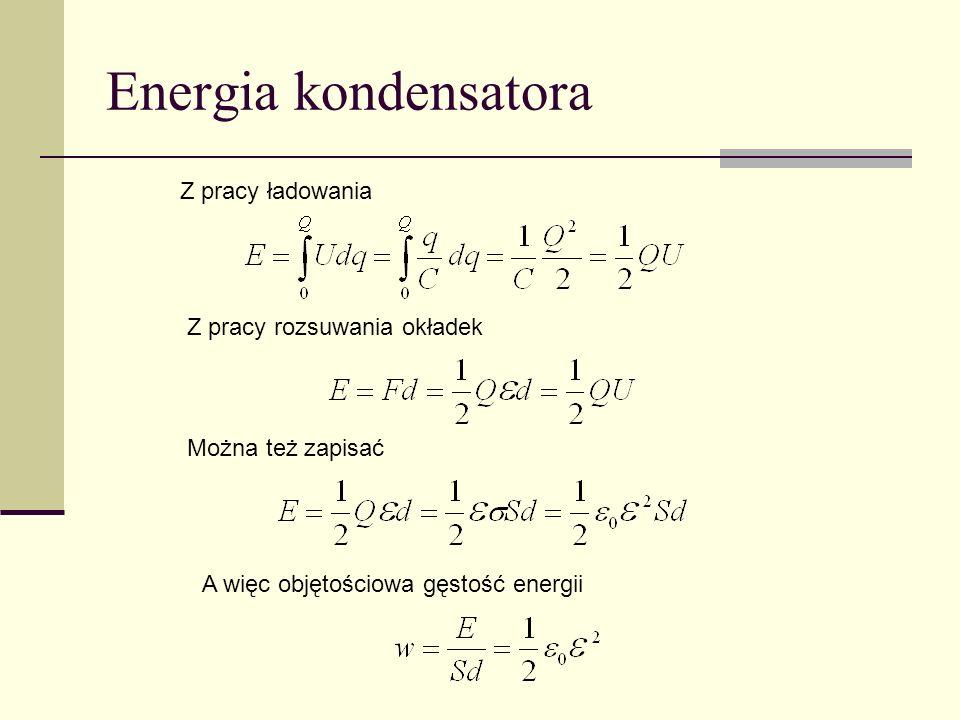Energia kondensatora Z pracy ładowania Z pracy rozsuwania okładek